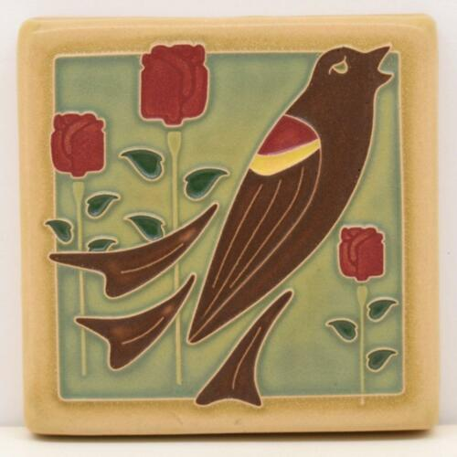 4x4 Arts /& Crafts Blackbird Tile in Cocoa by Arts /& Craftsman Tileworks