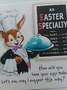 50s-Vtg-ANTHROPOMORPHIC-Bunny-CHEF-An-EASTER-Special-Menu-EGGS-Today-GREET-CARD