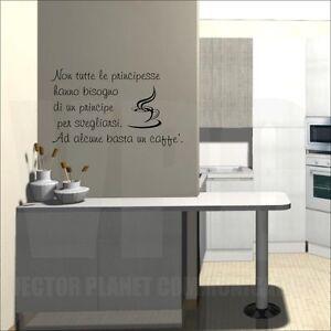 Wall stickers frase caff mattino colazione adesivo per for Stickers per muri