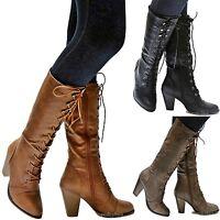 New Women FCa36 Black Tan Brown Combat Lace Up Riding Mid-Calf High Heel Boots