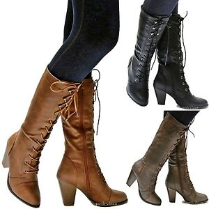 New Women FCa36 Black Tan Brown Combat Lace Up Riding Mid-Calf ...