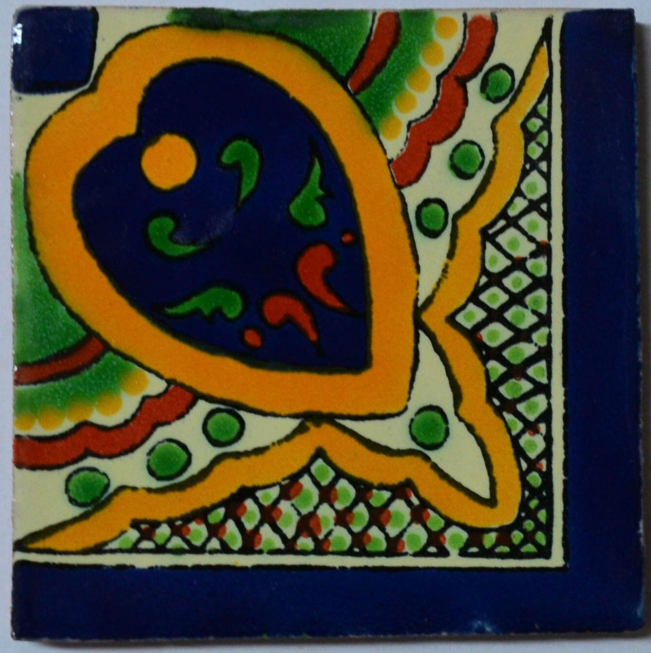 C331 - Mexican Handmade Talavera Clay Tile Folk Art 4x4
