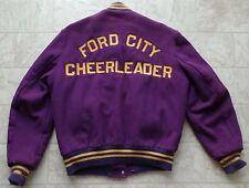 Vintage Varsity Cheerleader Jacket Purple Gold Wool Ford City, PA Lady J '83