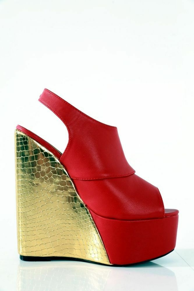 GIARO SHOES RED GOLD UK4.5 5 EU38 HIGH HEELS WEDGE SEXY FETISH CD TV DRAG QUEEN