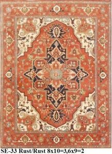 Indian Hand Knotted 6x9 180x270 Serapi Persian Oriental Wool Carpet Area Rug
