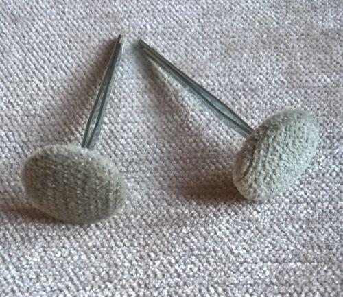 Prong//Clinch Back Celadon Green Chenille Velvet Fabric Covered Upholstery Button