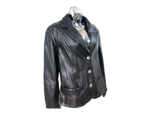 Scully women's XL black leather classic blazer sc