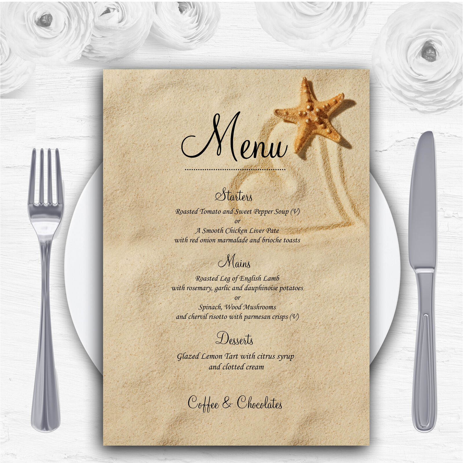 Sandy Beach Romantic Personalised Wedding Menu Cards