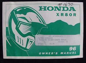 GENUINE-1996-HONDA-80-XR80R-DIRT-BIKE-MOTORCYCLE-OPERATORS-MANUAL-VERY-GOOD