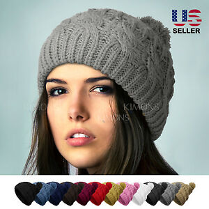 POM-POM Knit Slouchy Baggy Beanie Oversize Winter Hat Ski Cap Skull Women Solid