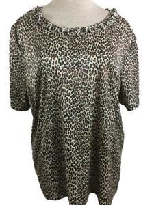 BLAIR knit top size 2XL leopard print short sleeve ruffle neckline polyester