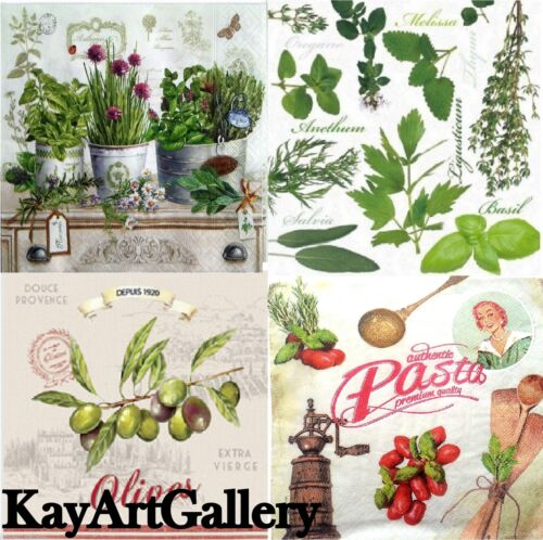 KITCHEN DECOUPAGE 4 x Vintage Table PAPER NAPKINS  craft HERBS