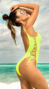 Mapale-Neon-Green-Ribbed-Cheeky-One-Piece-w-Lace-Up-Sides-Swimsuit-6576