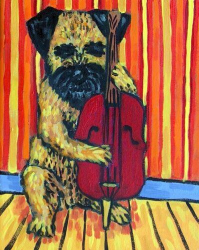 Border terrier play stand up bass  art print 11x14animals gift new