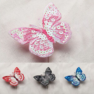 Butterfly Sequin Iron On Embroidered Applique Sewing Motif Cloth DIY Patch Craft