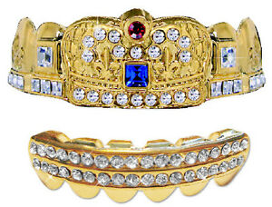 Hip Hop Iced 14K Gold Plated Mouth Grillz Upper & Lower Set  - Deluxe Crown
