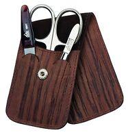 Becker-manicure Erbe Solingen 3 Pcs Set Manicure Case Wood Look Men's Leather