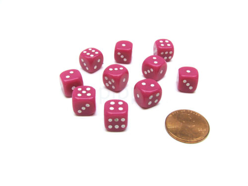 Pack of 10 Deluxe Round Edge Small 10mm Opaque D6 Dice Pink