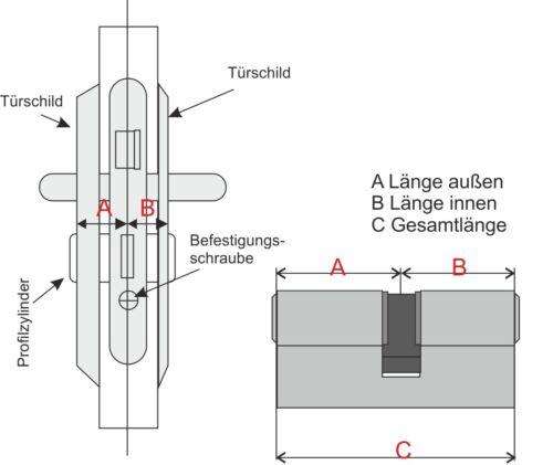 Schließzylinder Not-u.Gefahren-Funktion 30//30 35//35 30//40 35//45 Profilzylinder