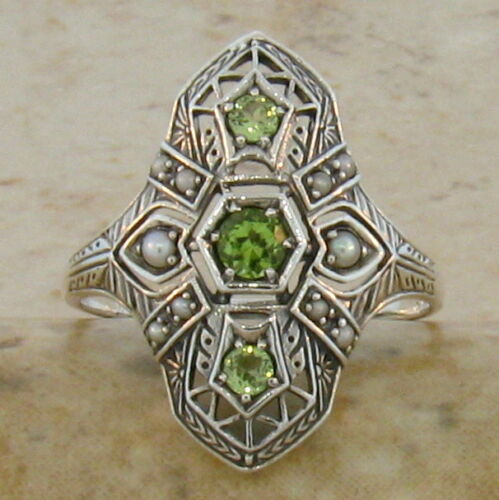 #37 GENUINE PERIDOT AND PEARL ANTIQUE ART DECO STYLE .925 SILVER RING SZ 4.75