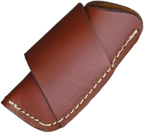 SH1174 Brown Leather Horizontal-Carry Sheath for Medium Folding Knives