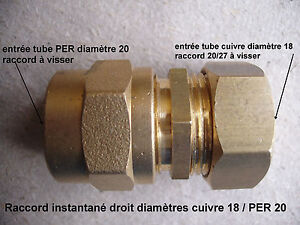 Détails Sur Raccord Droit Instantané à Visser Pour Cuivre ø18 Per ø20 Rf23
