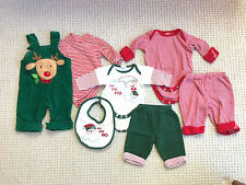 3 baby boy Christmas outfits newborn/3 mos longall PJs