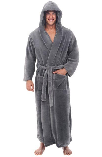 Alexander Del Rossa Mens Fleece Robe Long Hooded Bathrobe 3XL 4XL Steel Grey 560a869f0