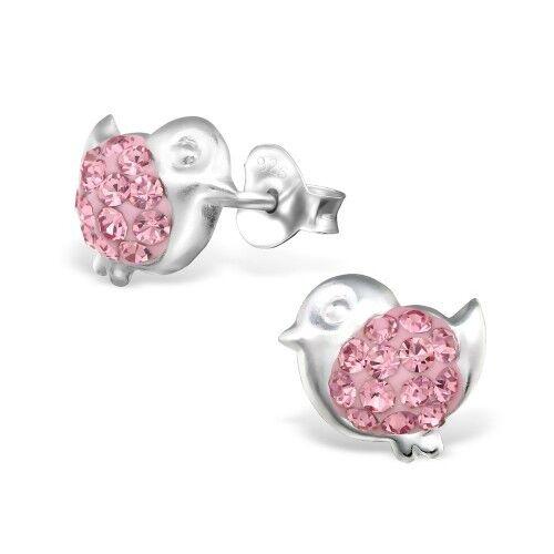 Childrens Girls 925 Sterling Silver turtle  Owl bird Crystal Stud Earrings