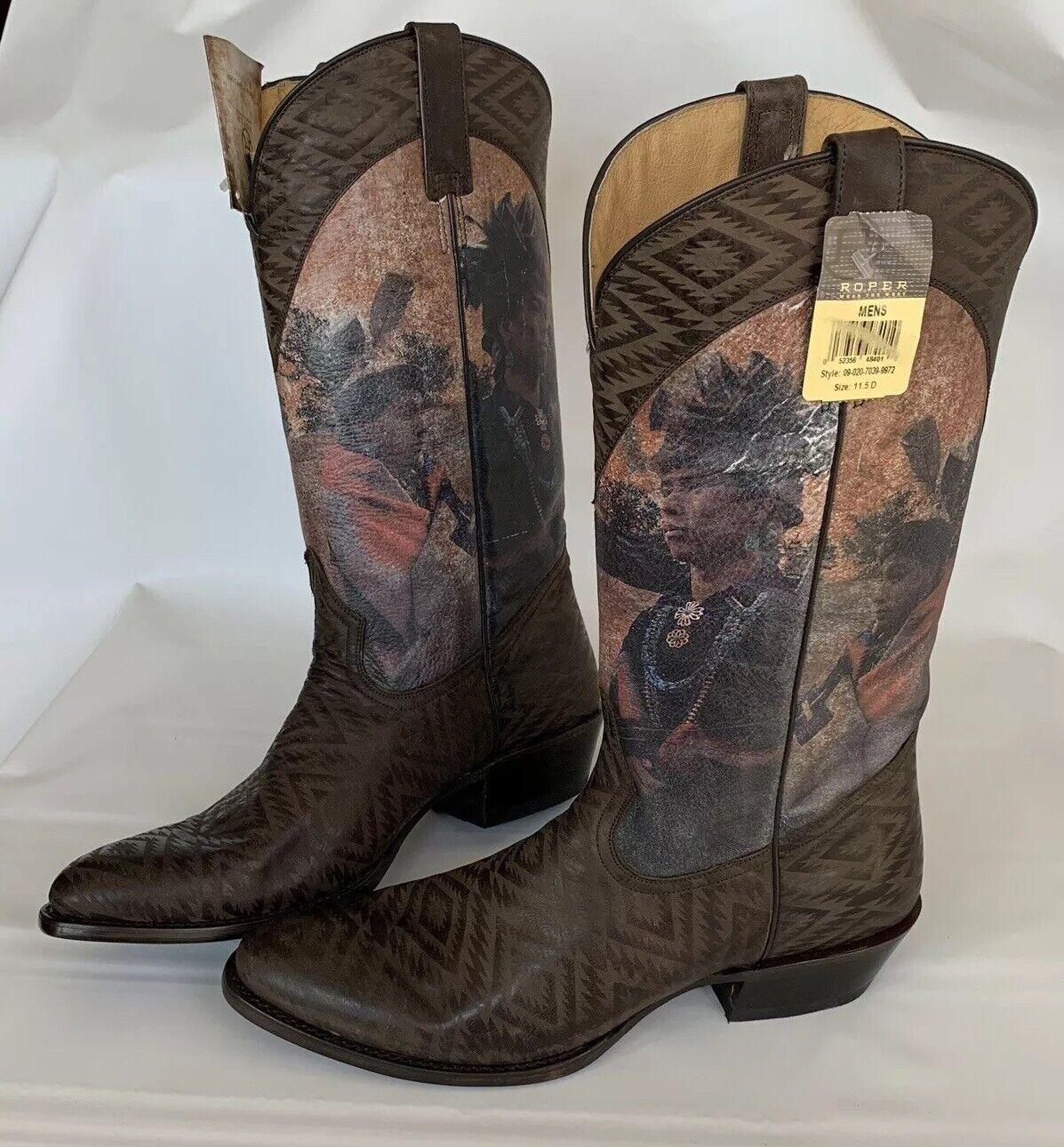 Roper Sz 11.5 D Men's Nabajo Print Cowboy Boots Brown