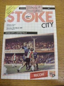 10/03/1984 Rail Ticket & Programme: Stoke City v Aston ...