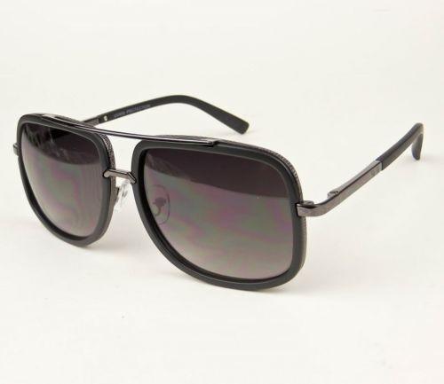 Retro Mach Square Gangster Aviator One Metal Rim Large Big Fashion Sunglasses L
