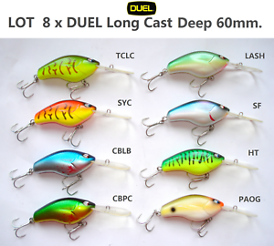 Lot 8x Duel Long Cast Corti Coda Intenso 60 F839 Owner Gancio Esca Artificiale I