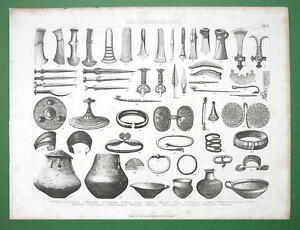 BRONZE-AGE-Artifacts-Tools-Arms-Jewelry-Vessels-Antique-Print