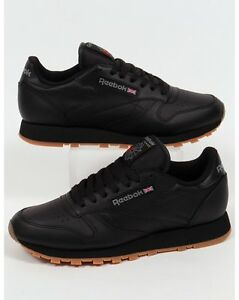 Image is loading Reebok-Classic-Leather-Trainers-in-Black-amp-Gum-