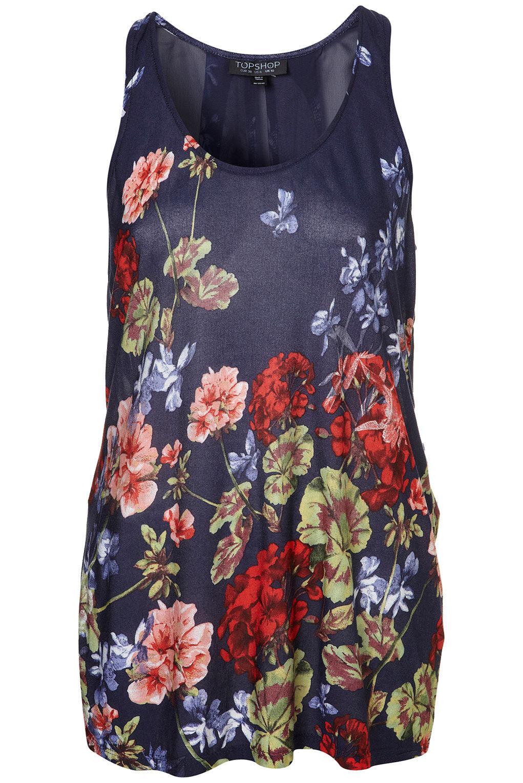 Brand new Topshop Geranium print waterfall vest in Navy Multi