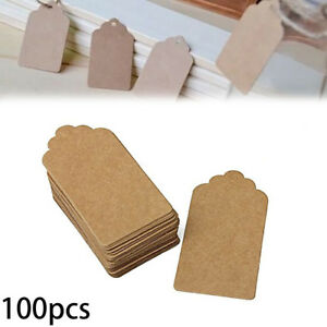 100pcs-Brown-Kraft-Paper-Gift-Tags-Wedding-Scallop-Label-Blank-Luggage-Tags