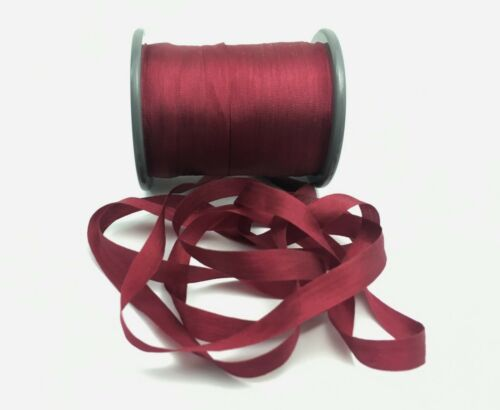 "Pure Silk Embroidery Ribbon RED WINE 7mm 1//4/"" wide by the yard"