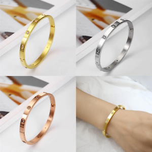 Rose-Gold-Silver-Plated-Stainless-Steel-Metal-Rivet-CZ-Crystal-Bangle-Bracelet