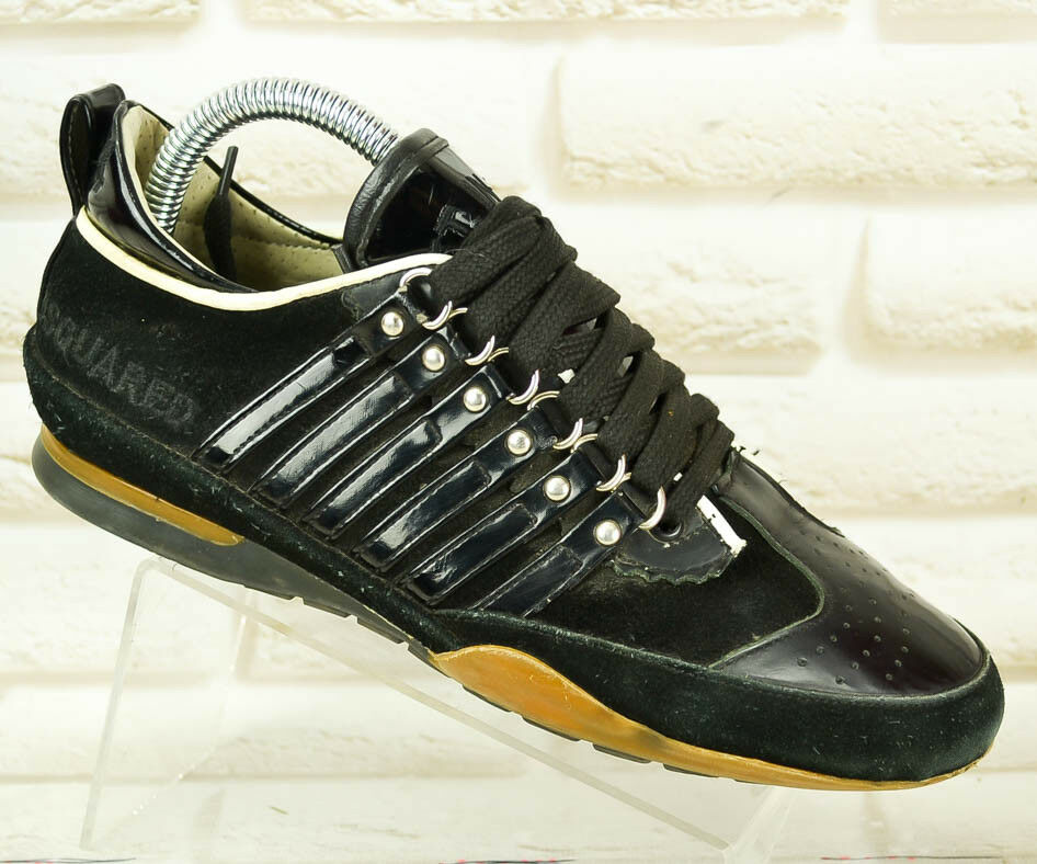 DSQUBRED2 Black Leather Womens Trainers Shoes Sneakers DSQ2 Size 3 UK 36 EU
