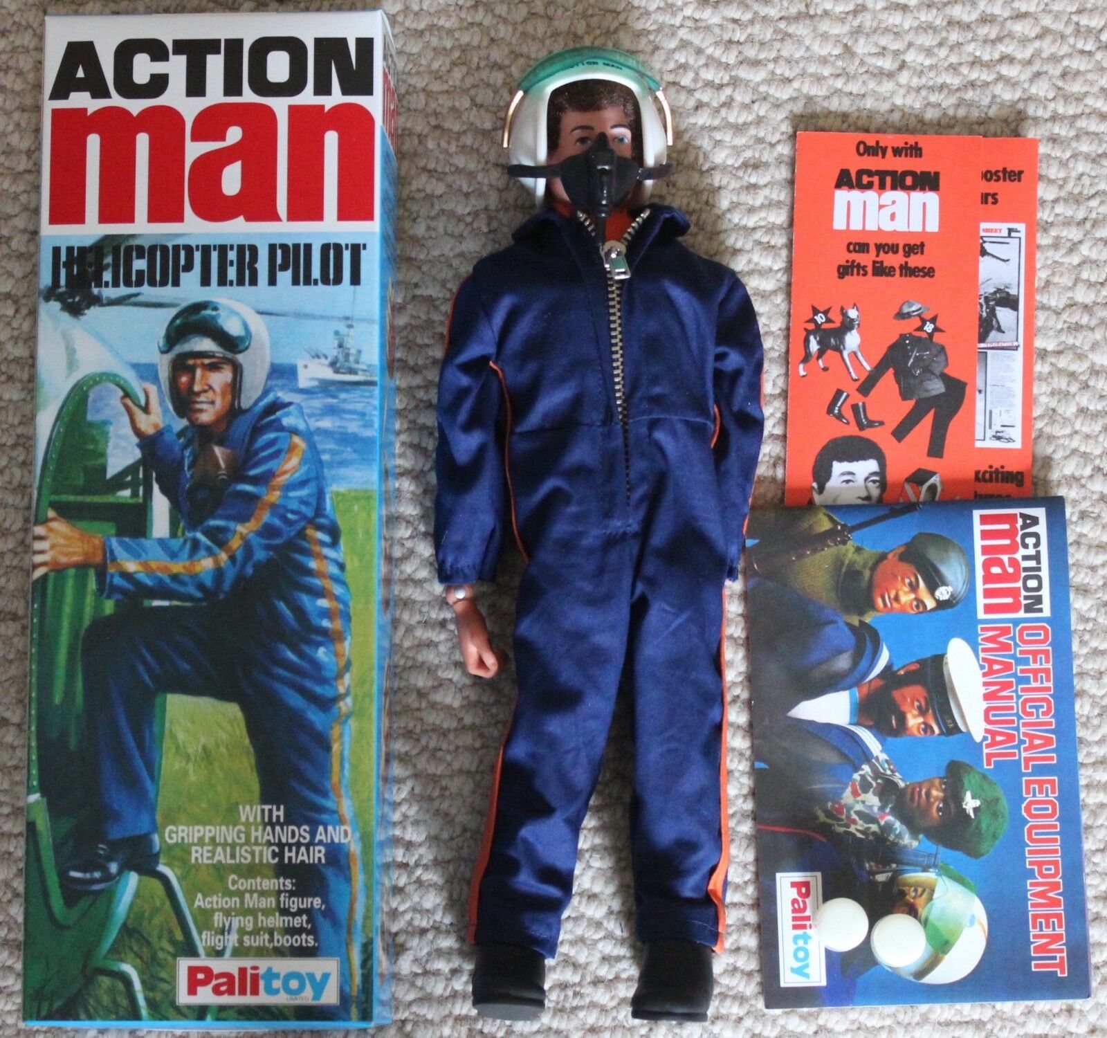 Vintage action man 40th anniversary helicopter pilot boxed