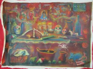 Mexican-Folk-Art-M-Hernandez-Magical-Day-Of-The-Dead-Altar-Landscape-Painting