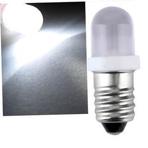 E10-LED-Screw-Base-Indicator-Bulb-Cold-White-6V-DC-Illumination-Lamp-Light-oq