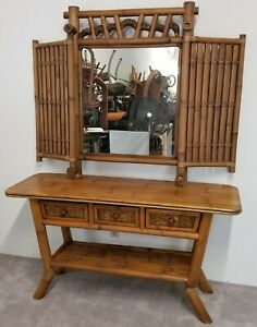 2-Piece-MCM-Bamboo-Rattan-Wicker-3-Drawer-Console-Entryway-Table-and-Wall-Mirror