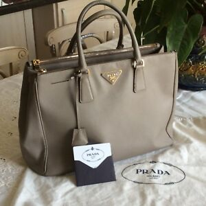 9851d6f2aba1 Image is loading PRADA-Saffiano-Lux-Leather-Double-Zip-Tote-Bag