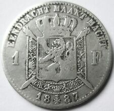 BELGIQUE .LEOPOLD II.KONING .1 FR 1887 ARGENT 835 °/°° 5 GRAMMES 23 MM .L.WIENER