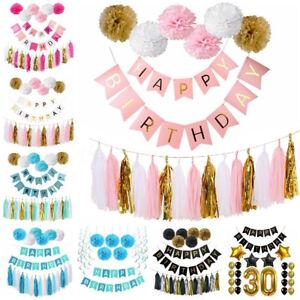 Joyeux-Anniversaire-Banniere-Papier-Tissu-Pompon-PAMPILLE-MARIAGE-Garland-Kid-Party-Decor