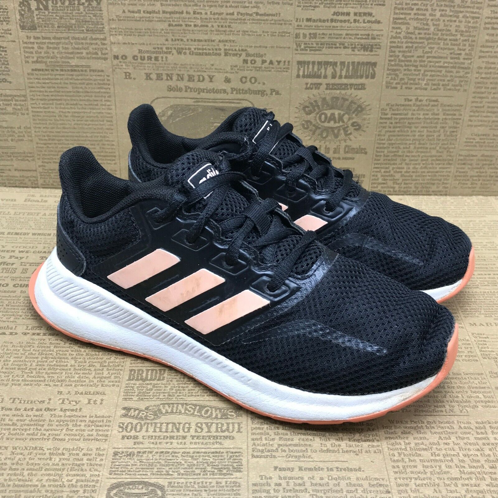 adidas Boys Pre School Runfalcon K EE6932 Black Running Shoes Lace up Size 4