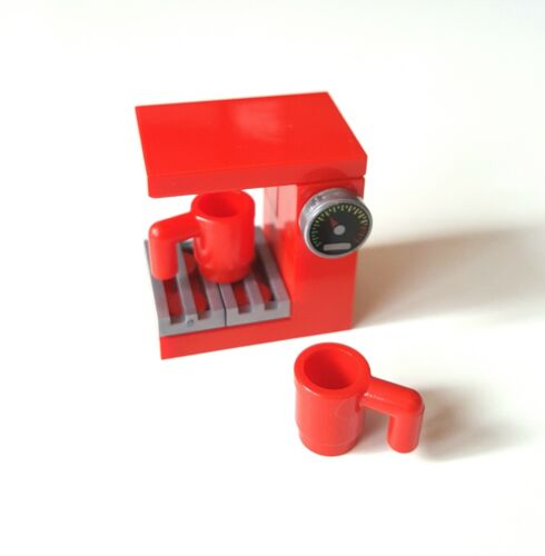 LEGO Filter Coffee Maker Machine in Red with 2 Mugs for Minifigure