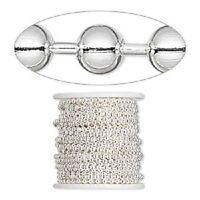 1320ch Bulk Silvertone Silver Plated Steel Ball Chain 3.2mm 50 Feet Spool